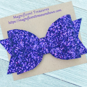 Purple Chunky Glitter 4.5 Inch Hair Bow