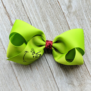 "Grinch 4"" Ribbon Hair Bow"