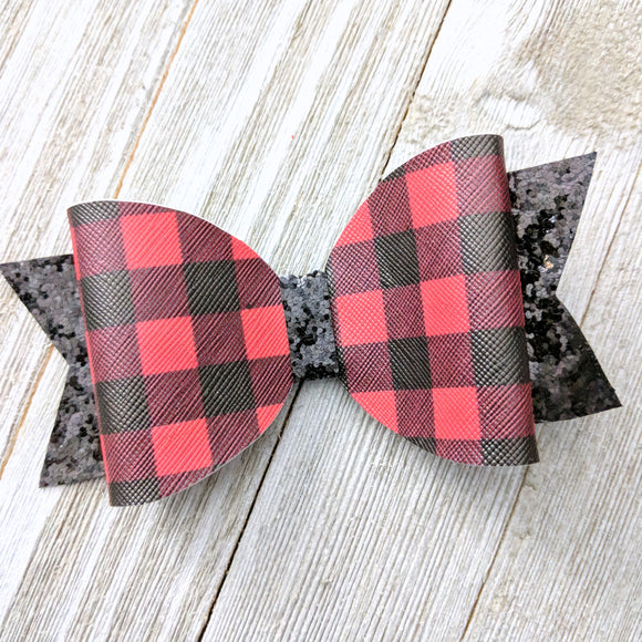 Red Buffalo Plaid Faux Leather and Glitter Bow 4.5 Inches