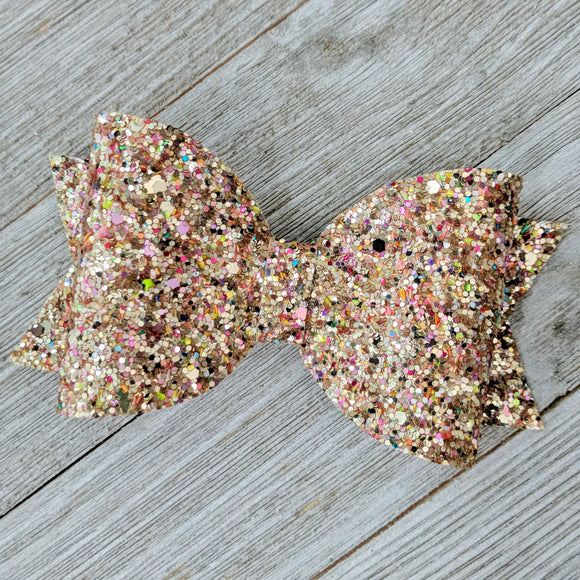 Winter Gold Chunky Glitter 4 Inch Hair Bow
