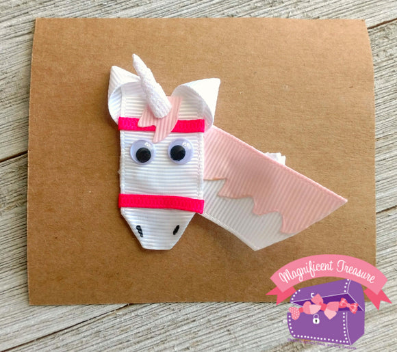 Unicorn Ribbon Sculpture Hair Clip White or Pink