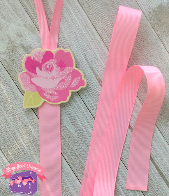 Pink Glitter Flower Hair Bow Holder and Storage