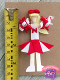 Customizable Cheerleader Hair Clip, Pin, or Christmas Tree Ornament