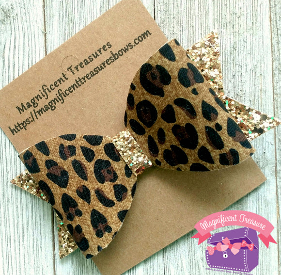 Leopard Print Gold Glitter Hair Bow