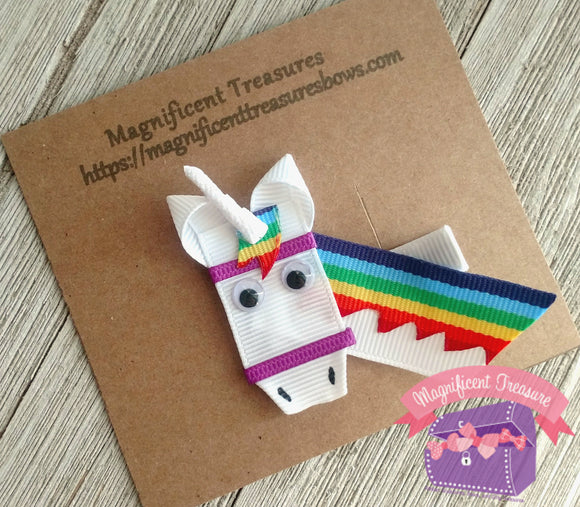 Rainbow Unicorn Ribbon Sculpture Hair Bow