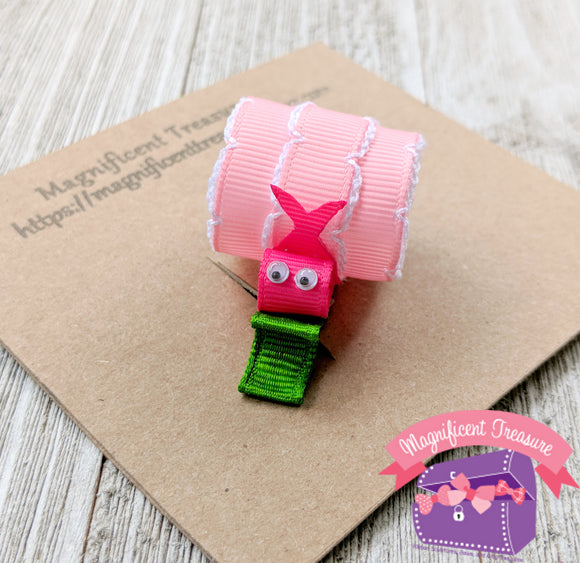 Pink Snail Hair Bow