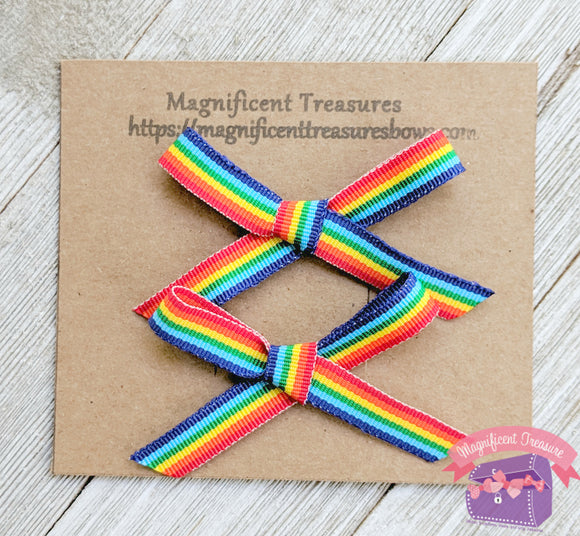 Hand Tied Rainbow Bows