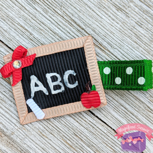 Chalk Board Ribbon Sculpture Hair Clip