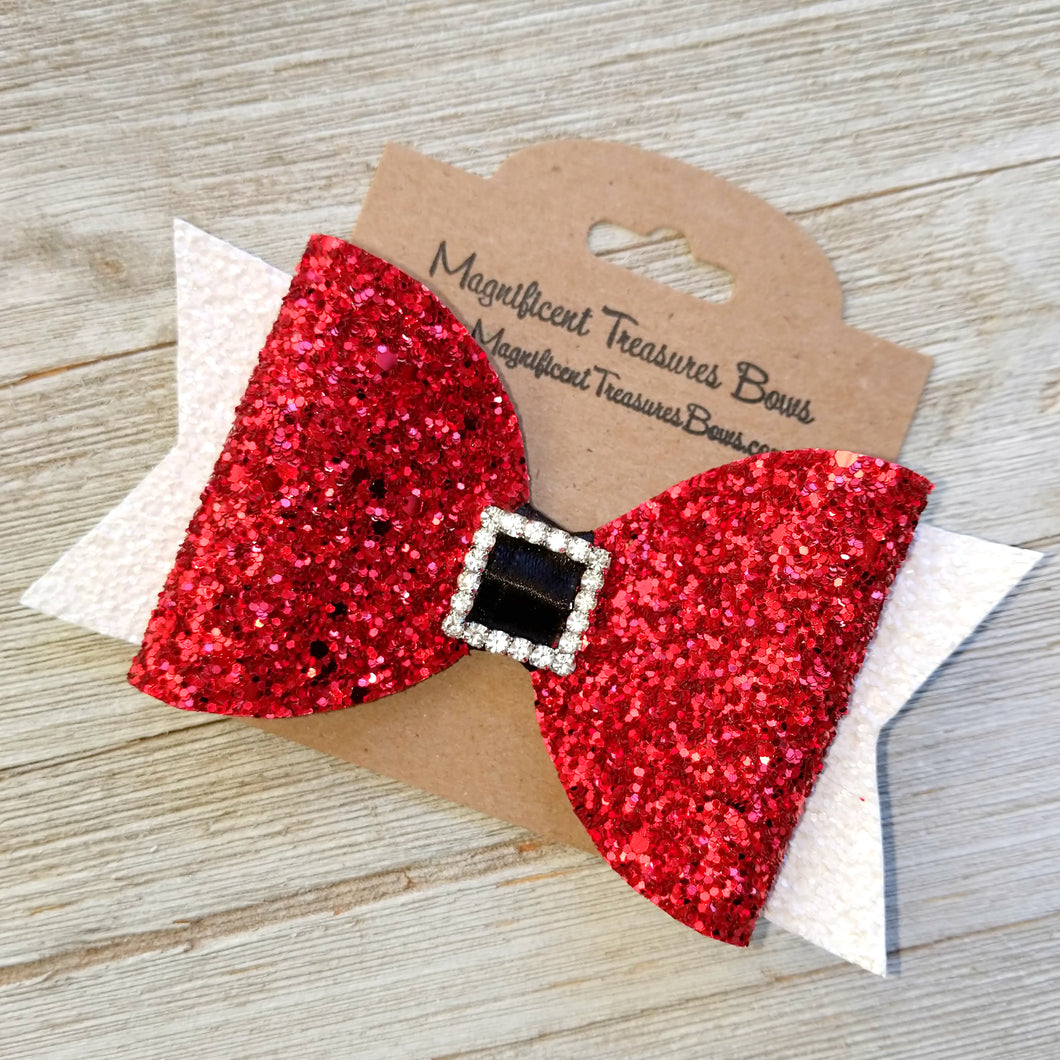 Santa Glitter Bow 4.5 Inches