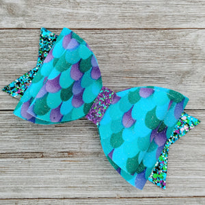 Teal and Purple Mermaid Scale Glitter Hair Bow