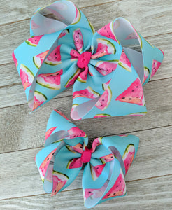 "Watermelon 4"" Fruit Ribbon Hair Bow"