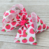 "Strawberry 4"" Fruit Ribbon Hair Bow"