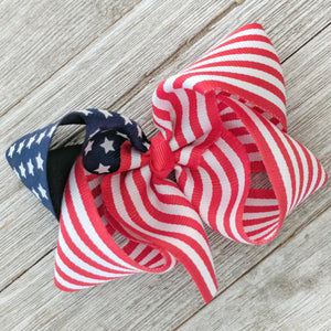 "4"" American Flag Ribbon Hair Bow"