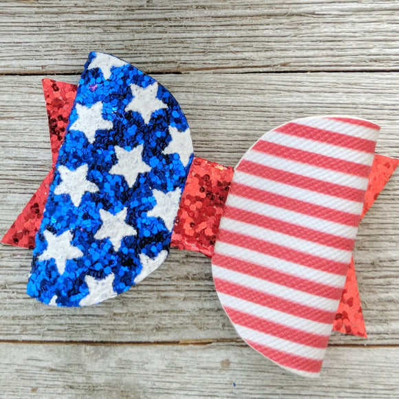 American Flag Chunky Glitter Bow - 2 Sizes