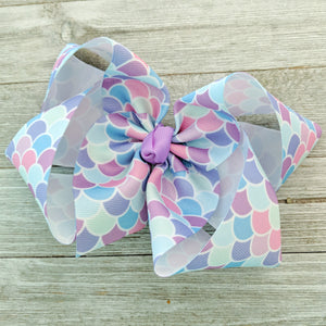 "6"" Lavender Mermaid Scale Ribbon Hair Bow"