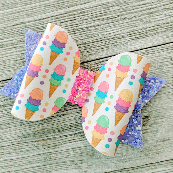 Mini Ice Cream Cone Glitter Bow 2.5 Inches