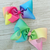 "6"" Rainbow Ombre Ribbon Hair Bows"