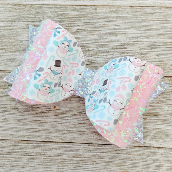 Pink Fuzzy Snow People Glitter Bow 4.5 Inches
