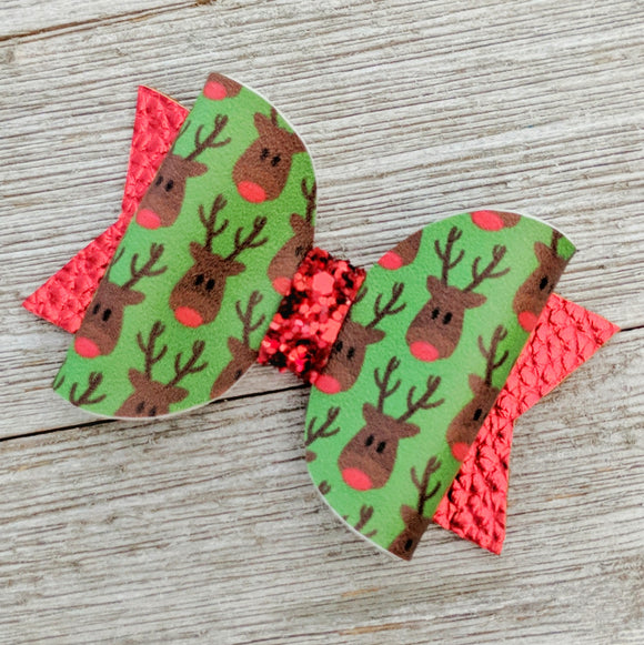 Mini Rudolph Glitter Bow 2.5 Inches