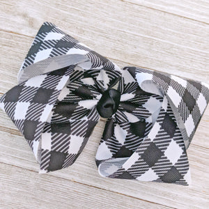 "White Buffalo Plaid 4"" Ribbon Hair Bow"