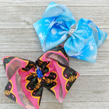 "4"" Frozen Elsa or Anna Ribbon Hair Bow"