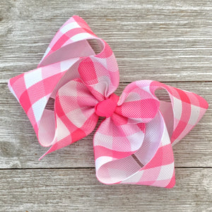 "4"" Pink Valentine Checked Ribbon Hair Bow"