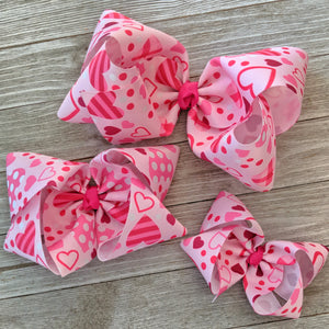 "4"" Valentine Hearts Ribbon Hair Bow"