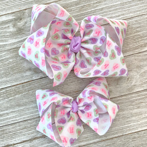 "Conversation Candy Heart 6"" Valentine Hair Bow"
