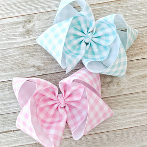 "6"" Light Pink or Mint Gingham Ribbon Hair Bow"