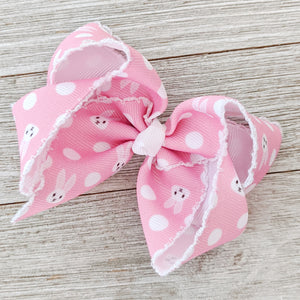 "6"" Bunny Moonstitched Ribbon Hair Bow"
