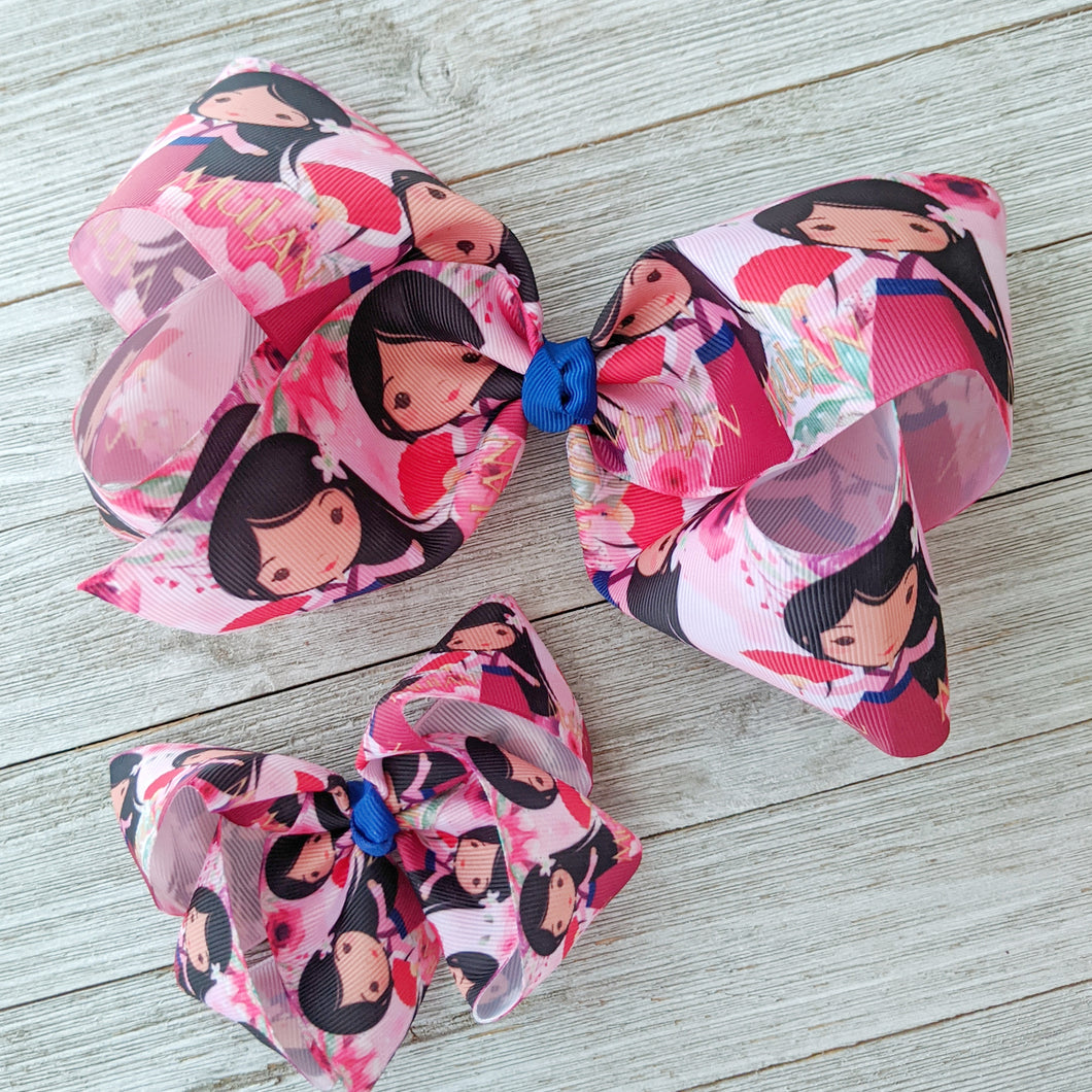 Jumbo 7-8 Inch Mulan Hair Bow