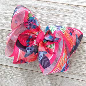 "4"" Pink Trolls Ribbon Hair Bow"