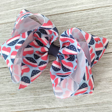 "4"" Patriotic Hearts Ribbon Hair Bow"