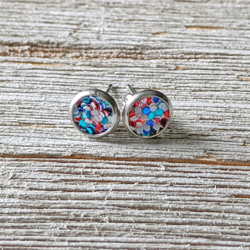 Patriotic Glitter Earrings - 6 MM or 8 MM Stainless Steel Stud