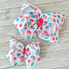 "4"" or 6"" White Bomb Pops Ribbon Hair Bow"