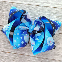 "4"" Blue Narwhal Ribbon Hair Bow"