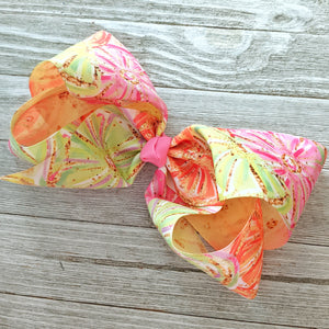 "7-8"" Pink Lemonade Ribbon Hair Bow"
