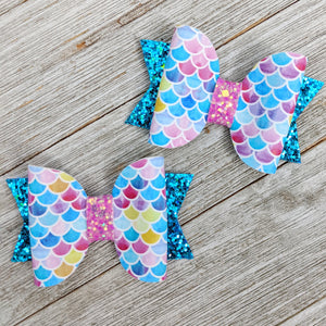 Mini Mermaid Glitter Bow 2.5 Inches