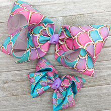 "4"" Pink, Lavender, and Aqua Mermaid Scale Ribbon Hair Bow"
