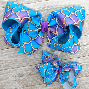 "7-8"" Purple and Blue Mermaid Scale Ribbon Hair Bow"