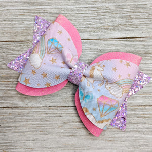 Pastel Unicorn Pinch Bow Pigtail Glitter Bow 4 Inches