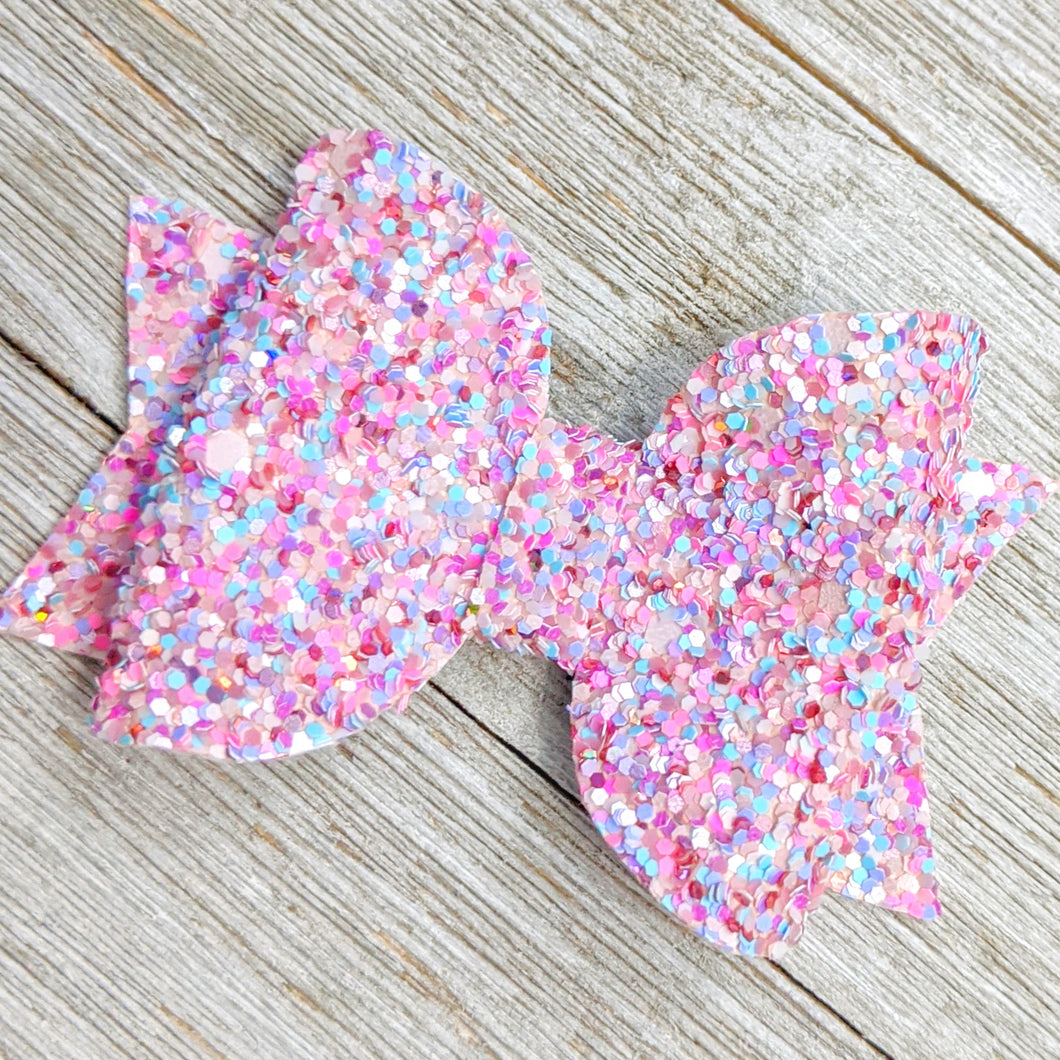Pink Speckled Chunky Glitter Bow - 2 Sizes - 2.5