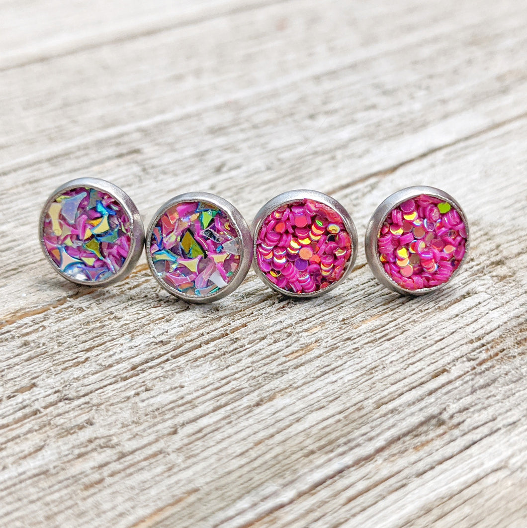 Two Pairs or Glitter Earrings - 6 MM or 8 MM Stainless Steel Stud