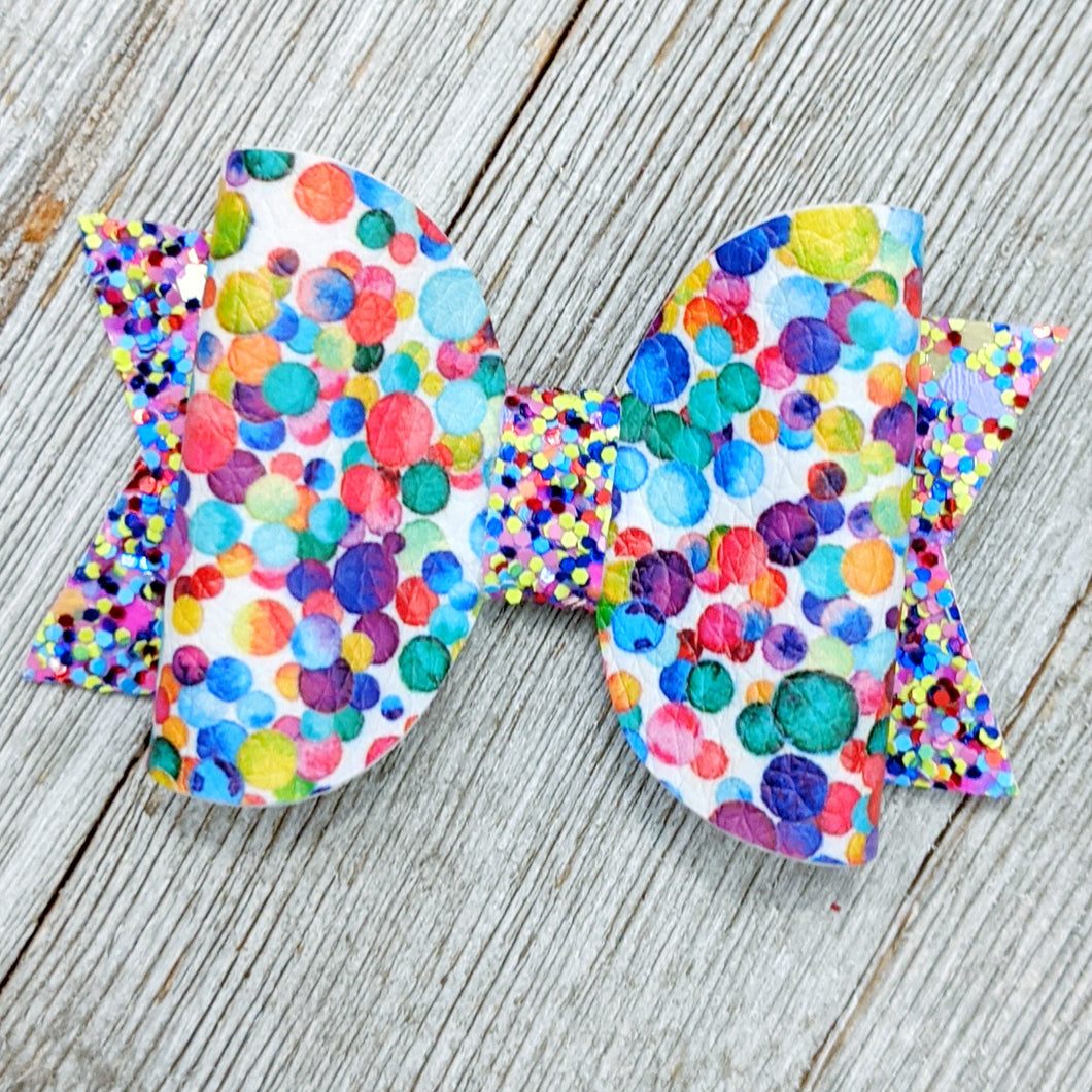Mini Dippin Dots Faux Leather Chunky Glitter Bow - 2.5
