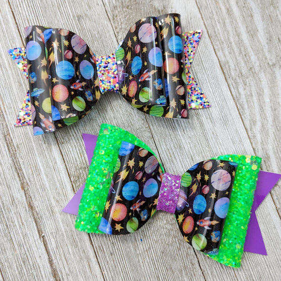 Outer Space Glitter Bow 4.5 Inches - 2 Styles