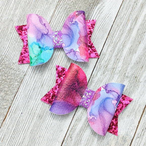 Galaxy Water Color Faux Leather Chunky Glitter Bow - 2 Sizes - 2.5