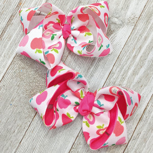 "4"" Pink Apple Back to School Hair Bow"