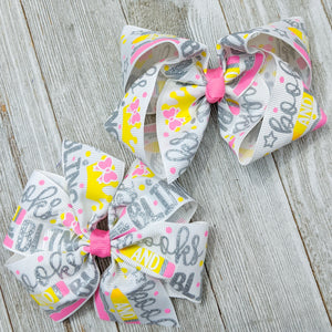 "4"" ""Books and Bling"" Ribbon Hair Bow - 2 styles"