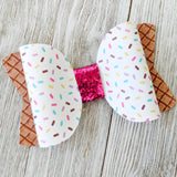 Ice Cream Cone Glitter Bow - 2 Sizes