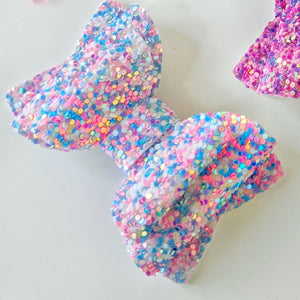 Cotton Candy Chunky Glitter Bow 2.5 Inches